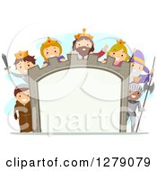 Clipart Of Happy Children Wearing Medieval Costumes Around A Castle Sign Royalty Free Vector Illustration by BNP Design Studio