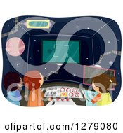 Clipart Of Children Operating A Control Room In A Spaceship Royalty Free Vector Illustration by BNP Design Studio
