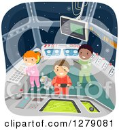 Clipart Of A Robot Dog And Futuristic Children In A Spaceship Control Room Royalty Free Vector Illustration
