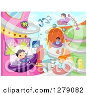 Clipart Of Happy Children Playing And Flying In A Futuristic Outer Space City Royalty Free Vector Illustration