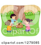 Clipart Of Happy Girls Building A Fairy House Of Leaves And Twigs Royalty Free Vector Illustration