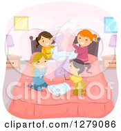 Playful Girls In The Middle Of A Pillow Fight At A Slumber Party