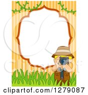 Clipart Of A Blond Caucasian Tour Guy Taking Pictures Over A Blank Frame Stripes And Foliage Royalty Free Vector Illustration by BNP Design Studio