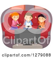 Clipart Of Happy Kids Playing A Video Game At Home Royalty Free Vector Illustration by BNP Design Studio