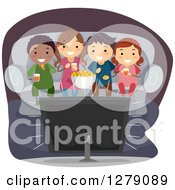 Poster, Art Print Of Happy Children Snacking On Popcorn And Watching A Movie At Home