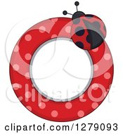 Clipart Of A Ladybug Circular Label With Polka Dots Royalty Free Vector Illustration