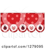 Clipart Of A Red And Pink Polka Dot And Heart Ladybug Bunting Border Royalty Free Vector Illustration