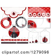 Clipart Of Ladybug And Polka Dot Borders Tags And Labels Royalty Free Vector Illustration by BNP Design Studio