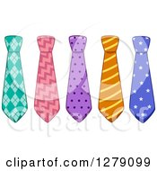 Clipart Of Colorful Patterened Business Neck Ties Royalty Free Vector Illustration