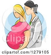Sketched Female Doctor Assisting A Blond White Pregnant Woman Over A Blue Circle
