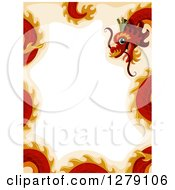 Clipart Of A Red Chinese New Year Dragon Border Royalty Free Vector Illustration by BNP Design Studio