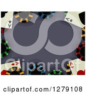 Clipart Of A Border Of Aces Playing Cards And Poker Chips Around Text Space Royalty Free Vector Illustration