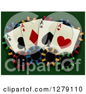 Clipart Of Aces Playing Cards And Poker Chips On Green Royalty Free Vector Illustration