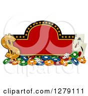 Clipart Of A Red And Starry Casino Sign With Poker Chips Dice Playing Cards And A Dollar Symbol Royalty Free Vector Illustration