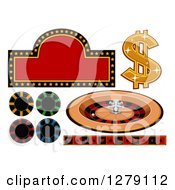 Clipart Of A Casino Sign Dollar Symbol Roulette Wheel Poker Chips And Card Suit Border Royalty Free Vector Illustration