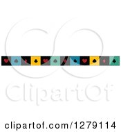 Clipart Of A Colorful Border Of Playing Card Suit Shapes Royalty Free Vector Illustration