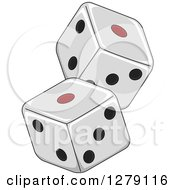 Clipart Of A Black White And Red Dice Royalty Free Vector Illustration