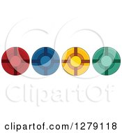 Clipart Of A Border Of Colorful Poker Chips Royalty Free Vector Illustration