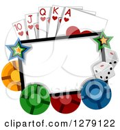 Clipart Of A Blank Sign With Stars Casino Dice Poker Chips And Playing Cards Royalty Free Vector Illustration by BNP Design Studio