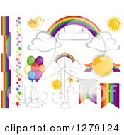 Clipart Of Rainbow Themeed Design Elements Royalty Free Vector Illustration by BNP Design Studio