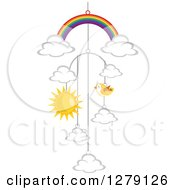 Rainbow Cloud Bird And Sun Baby Mobile