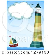 Clipart Of A Cloud Frame Over A Lighthouse And Sailboat At Sea Royalty Free Vector Illustration by BNP Design Studio