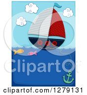Sewn Styled Sailboat With Fish And An Anchor