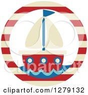 Nautical Maritime Sailboat In A Striped Circle