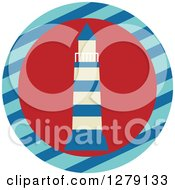 Clipart Of A Nautical Maritime Lighthouse In A Striped Circle Royalty Free Vector Illustration by BNP Design Studio
