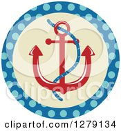 Clipart Of A Nautical Maritime Anchor In A Polka Dot Circle Royalty Free Vector Illustration by BNP Design Studio