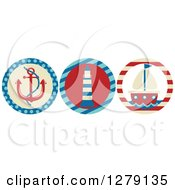 Clipart Of Nautical Maritime Anchor Lighthouse And Sailboat Icons Royalty Free Vector Illustration by BNP Design Studio