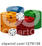 Clipart Of Stacks Of Casino Poker Chips And Dice Royalty Free Vector Illustration by BNP Design Studio