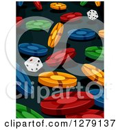 Clipart Of A Background Of Falling Colorful Poker Chips And Dice On Black Royalty Free Vector Illustration