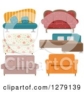 Clipart Of Colorful Couches Royalty Free Vector Illustration by BNP Design Studio