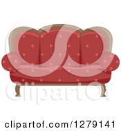 Clipart Of A Red Vintage Couch Royalty Free Vector Illustration by BNP Design Studio