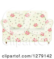 Clipart Of A Vintage Rose Patterned Couch Royalty Free Vector Illustration by BNP Design Studio