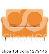 Clipart Of An Orange Love Seat Couch Royalty Free Vector Illustration by BNP Design Studio