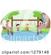 Clipart Of Happy Stick Kids Crossing A Pond On An Obstacle Course Royalty Free Vector Illustration by BNP Design Studio
