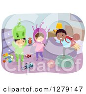 Clipart Of Happy Stick Children Playing In A Room With Alien Costumes Royalty Free Vector Illustration