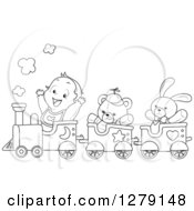 Clipart Of A Black And White Happy Toddler Boy And Toys Riding In A Train Royalty Free Vector Illustration