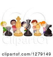 Clipart Of Happy Children With Life Size Chess Pieces Royalty Free Vector Illustration