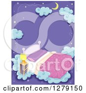 Clipart Of A Dream Background Of A Crescent Moon Stars Bed And Clouds Over Purple Royalty Free Vector Illustration