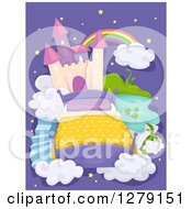 Clipart Of A Dream Background Of A Bed And Castle In The Sky Royalty Free Vector Illustration by BNP Design Studio