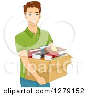 Clipart Of A Brunette White Man Carrying A Box Of Books Royalty Free Vector Illustration by BNP Design Studio