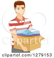 Clipart Of A Brunette White Man Carrying A Box Of Clothes Royalty Free Vector Illustration by BNP Design Studio