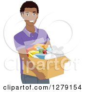 Clipart Of A Handsome Happy Black Man Carrying A Box Of Assorted Foods Royalty Free Vector Illustration by BNP Design Studio