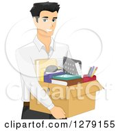 Clipart Of A Handsome Asian Man Carrying A Box Of Office Supplies Royalty Free Vector Illustration
