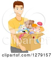 Clipart Of A Brunette White Man Carrying A Box Of Toys Royalty Free Vector Illustration