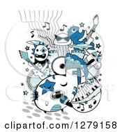 Clipart Of A Doodle Of A Monster Band Royalty Free Vector Illustration