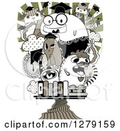 Clipart Of A Doodle Of Graduating Monsters Royalty Free Vector Illustration
